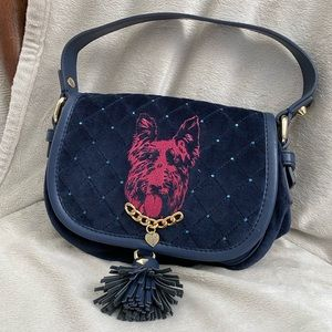 Juicy Couture Small Navy Blue Velour Scotty Purse